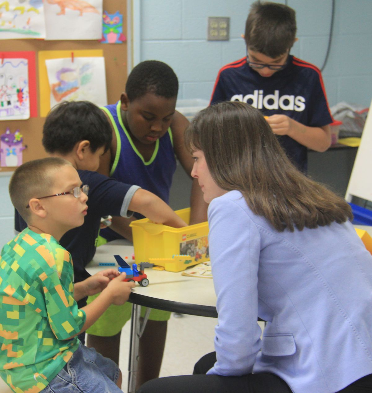Education Commissioner Candice McQueen visits students at Camp Explore.