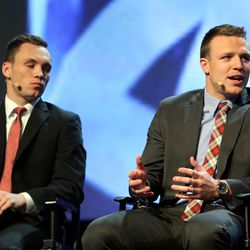 Football players Britain Covey and Taysom Hill speak at the RootsTech conference at the Salt Palace Convention Center in Salt Lake City on Saturday, Feb. 6, 2016.