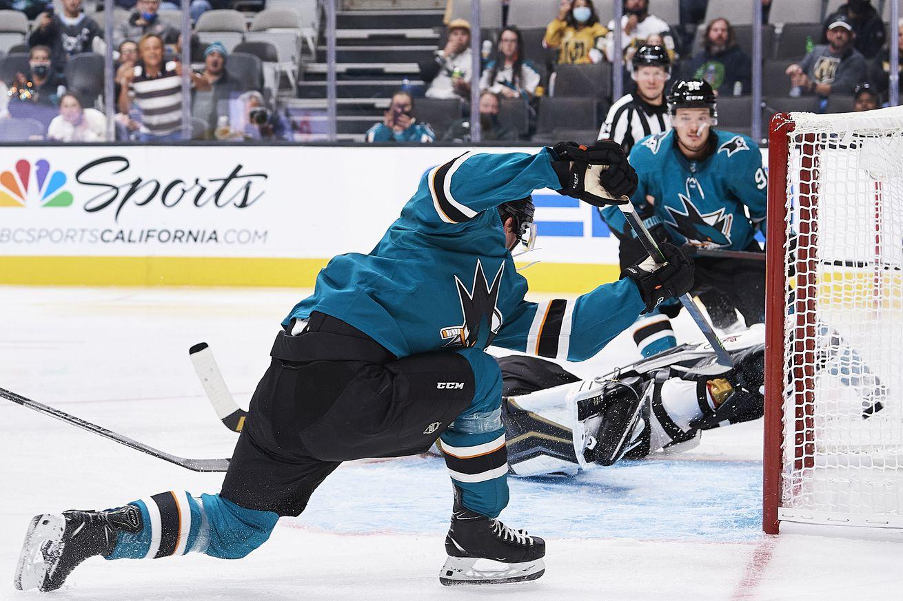 San Jose Sharks left wing William Eklund (72) scores a second-period goal during the San Jose Sharks game versus the Vegas Golden Knights on October 9, 2021, at SAP Center at San Jose in San Jose, CA.