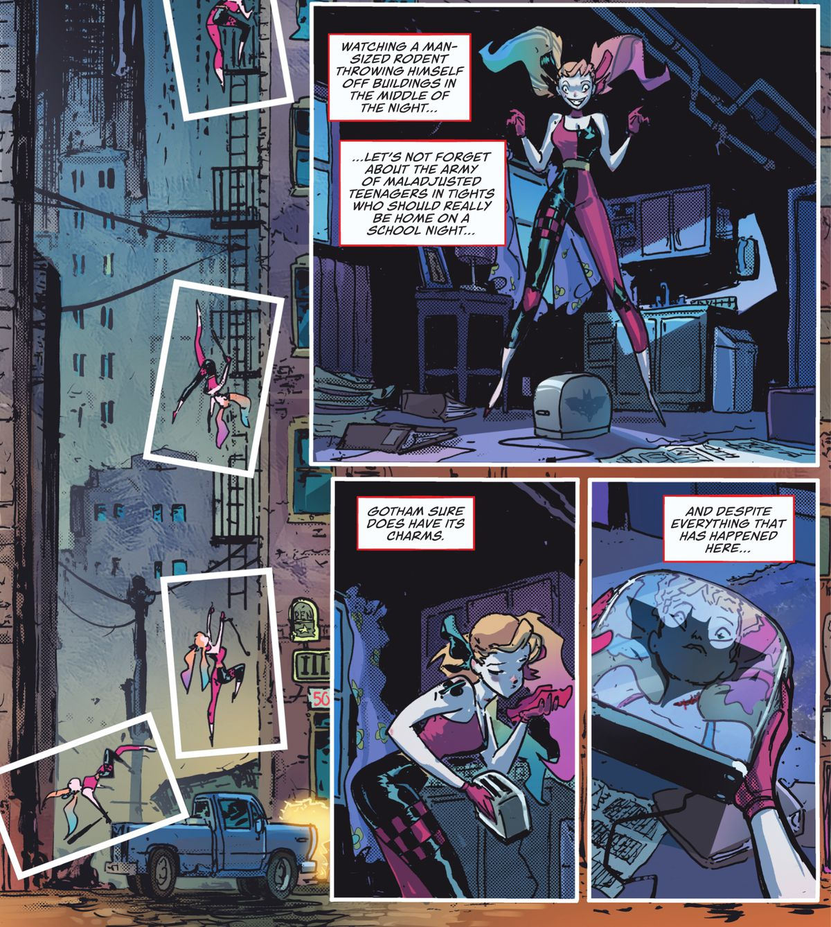 """Harley muses on all the bad things about Gotham City as she climbs in the window to her messy apartment. """"Gotham sure does have its charms,"""" she thinks as she picks up the surprise toaster left on the floor, with a bat-symbol on the side of it in Harley Quinn #1, DC Comics (2021)."""