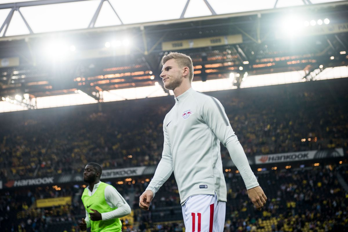 Borussia Dortmund vs RB Leipzig Leipzig's Timo Werner after the warm up during the German Bundesliga soccer match between Borussia Dortmund and RB Leipzig at the Signal Iduna Park in Dortmund, Germany, 14 October 2017. (EMBARGO CONDITIONS - ATTENTION: Due to the accreditation guidelines, the DFL only permits the publication and utilisation of up to 15 pictures per match on the internet and in online media during the match.) Photo: Bernd Thissen/dpa