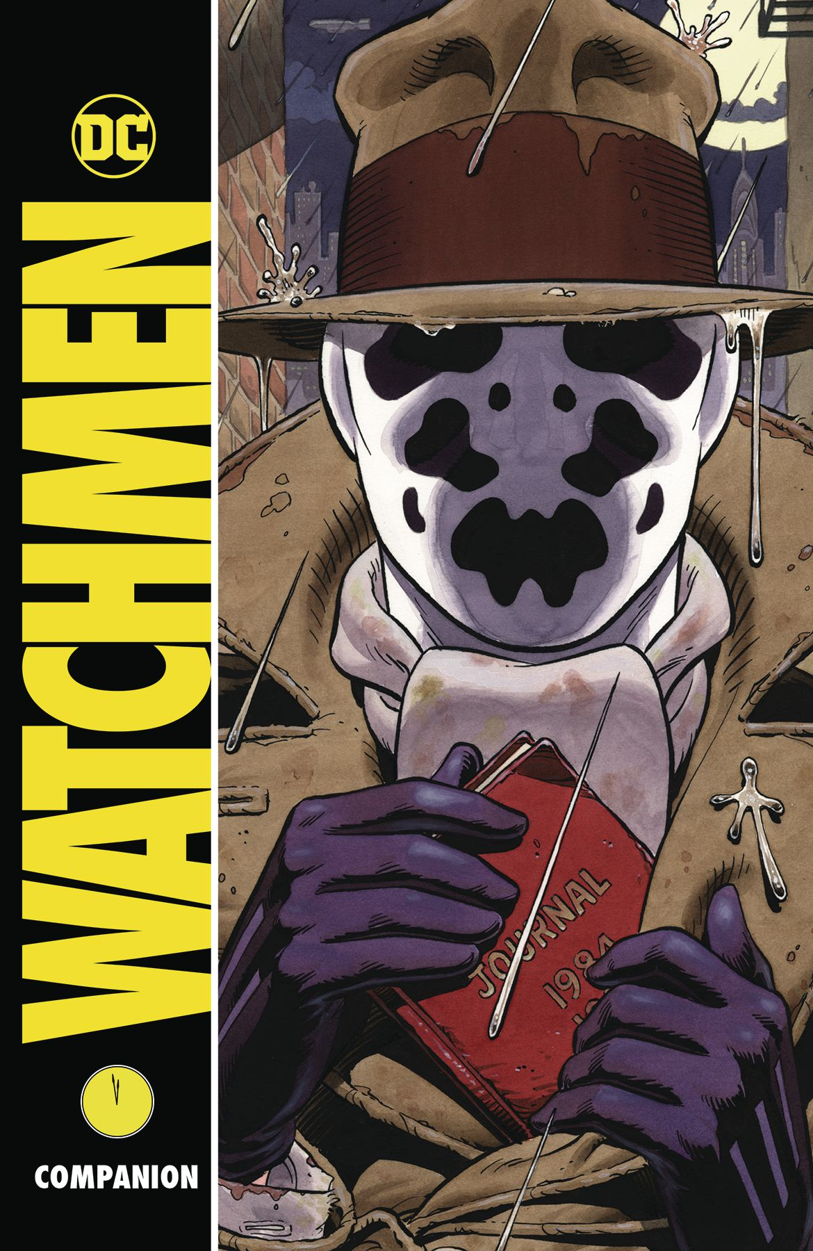 Rorschach pockets his journal on the cover of Watchmen Companion, DC Comics (2019).