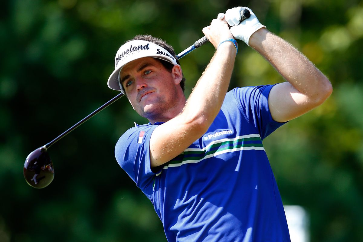 NORTON, MA - SEPTEMBER 01:  Keegan Bradley tees off on the 18th hole during the second round of the Deutsche Bank Championship at TPC Boston on September 1, 2012 in Norton, Massachusetts.  (Photo by Jim Rogash/Getty Images)