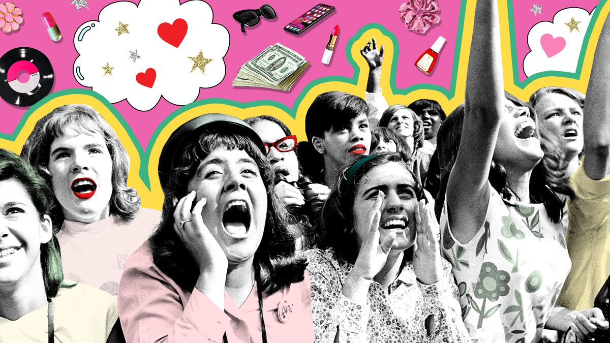 A vintage image of Beatles fans is juxtaposed against modern items like scrunchies, sunglasses and lipstick.