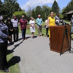 Salt Lake City Mayor Erin Mendenhall speaks during a press conference to announce the Salt Lake City Commission on Racial Equity in Policing at the International Peace Gardens in Salt Lake City on Thursday, June 25, 2020.