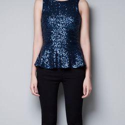 """<strong>Sequin Peplum Top</strong> Zara, <a href=""""http://www.zara.com/webapp/wcs/stores/servlet/product/us/en/zara-us-W2012/269211/986507/SEQUINED%2BPEPLUM%2BTOP"""">$59.90</a>"""