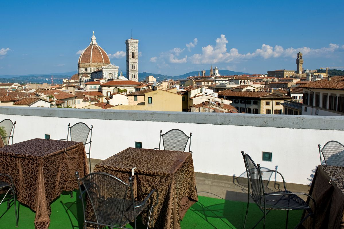 View Of Santa Maria Del Fiore From The Terrace Of A Restaurant, Florence, Italy