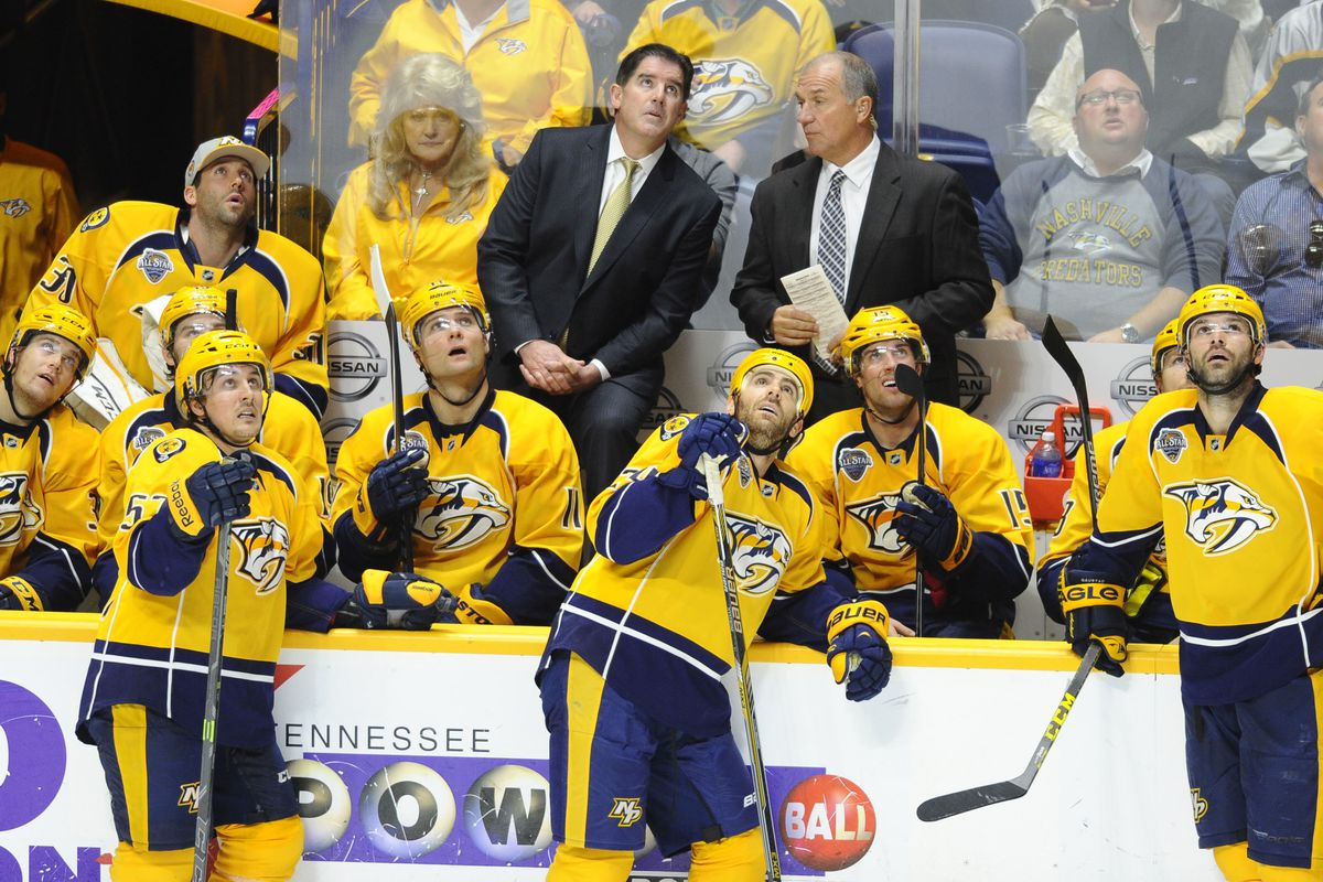 Nashville Predators setting a record for Most Players Checking A Newly Set Record During a Live Hockey Game
