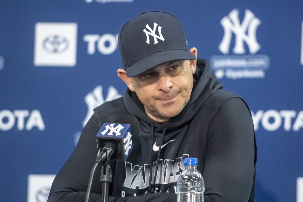 New York Yankees Manager Aaron Boone at a Press Conference during Spring Training 2020
