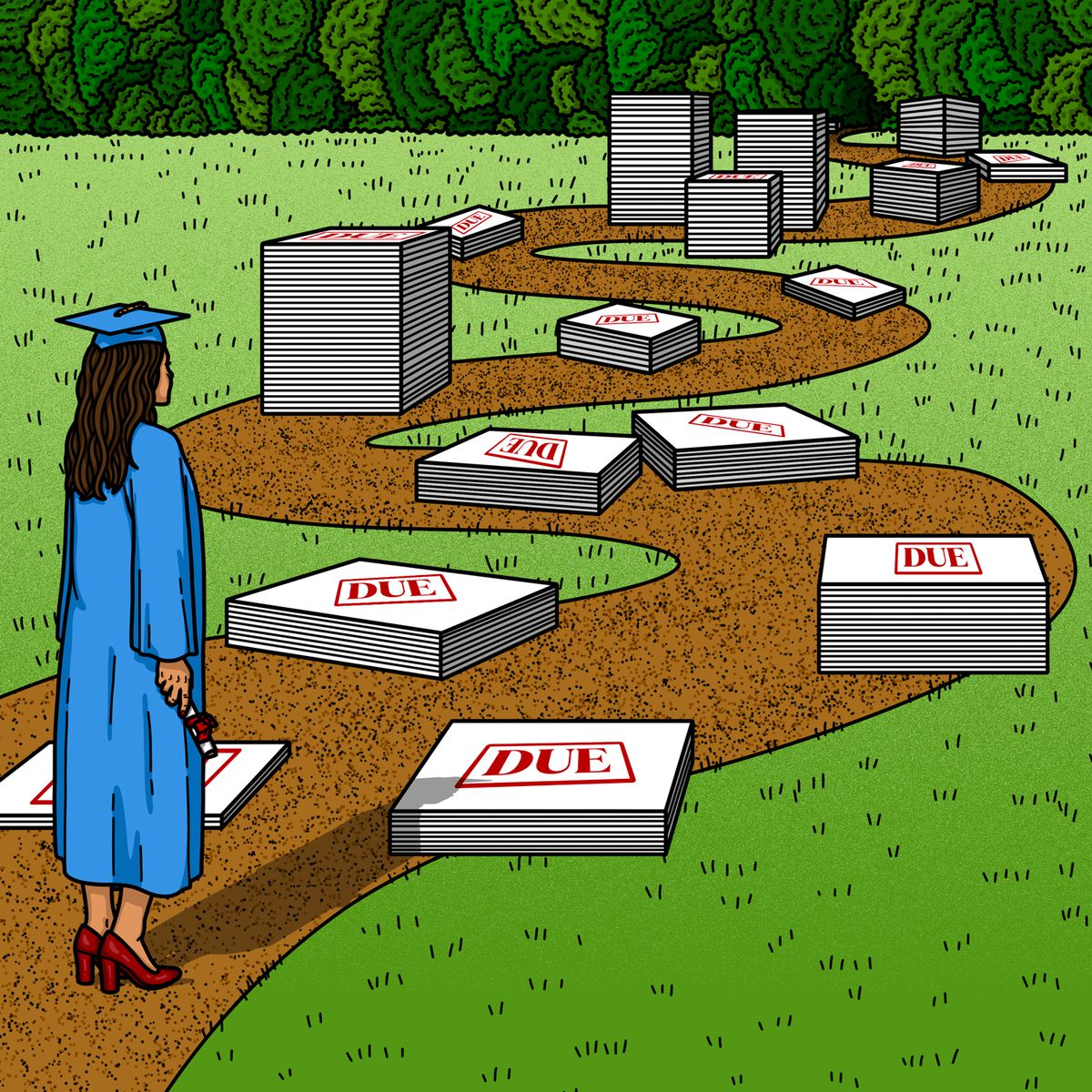 A girl in a graduation cap and gown stands at the beginning of a winding path littered with loans