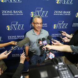 Utah Jazz vice president of player personnel Walt Parrin talks with media members after working out several potential draft picks, including former University of Utah players David Collette and Kyle Kuzma, at their practice facility on Tuesday, May 23, 2017.