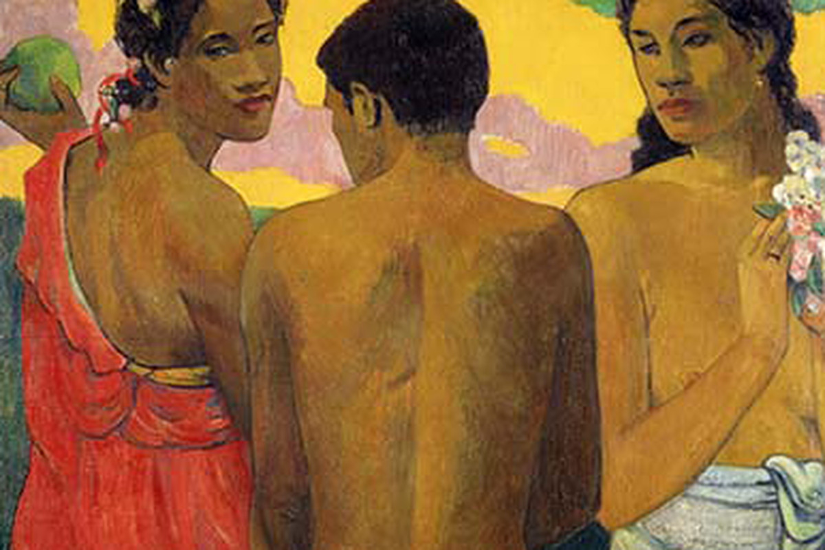 Paul Gauguin, Three Tahitians, on display at the de Young Museum