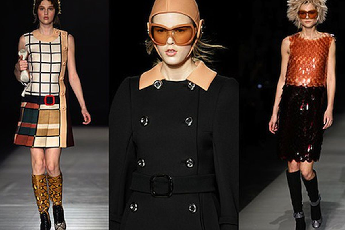 """A different kind of Darwin award: Miuccia Prada's new collection is so loved, she's favorably compared to Charles Darwin. (Huh?) Image via <a href=""""http://nymag.com/daily/fashion/2011/02/prada_eschews_fruit_pants.html"""">The Cut</a>"""