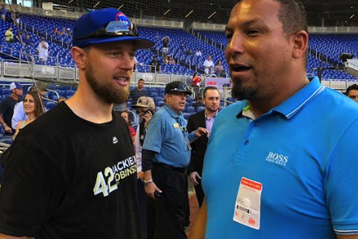 51a8391d5 Ben Zobrist chats with former pitcher Carlos Zambrano before the Cubs  game  Monday in Miami. Gordon Wittenmyer Sun-Times