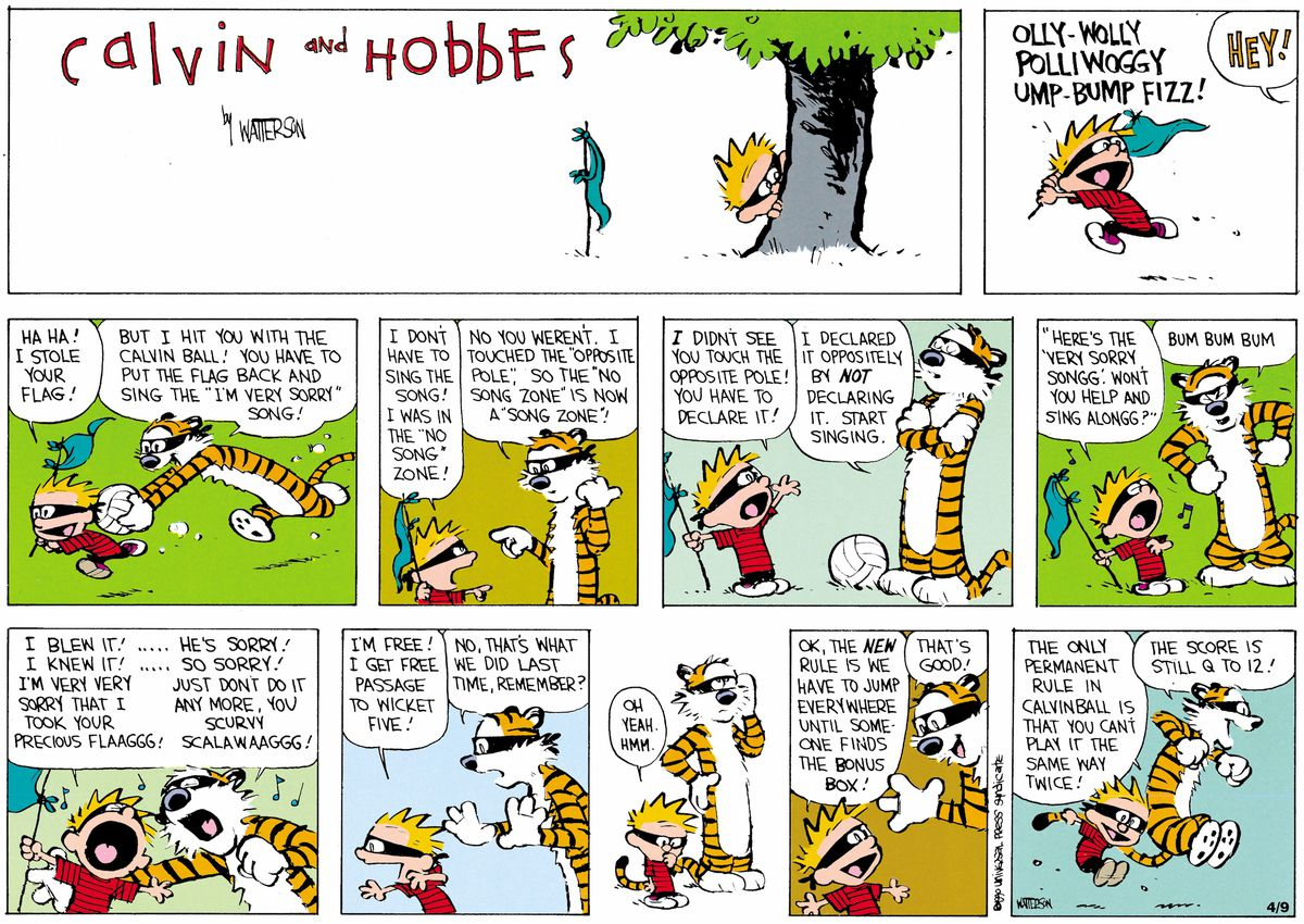 calvin and hobbes play calvinball in a sunday color comic strip