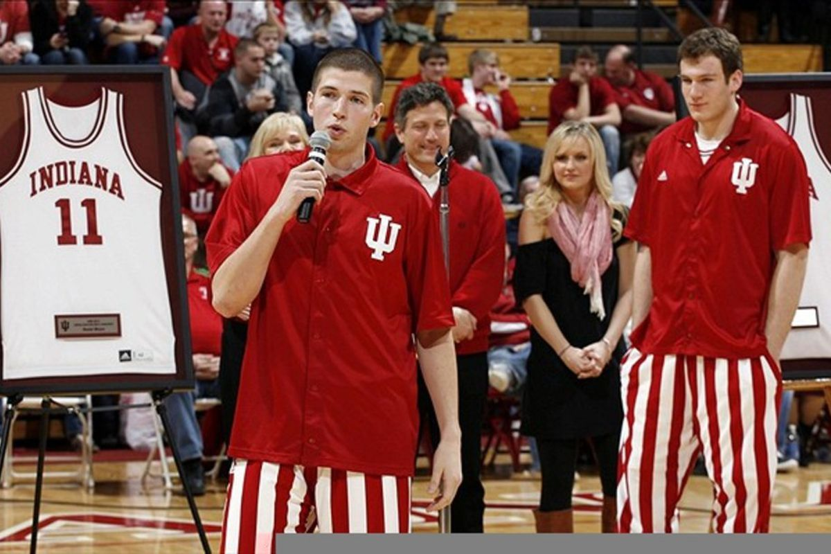 Mar 4, 2012; Bloomington, IN, USA; Indiana Hoosiers guard Matt Roth speaks on senior night after the game against the Purdue Boilermakers at Assembly Hall. Indiana defeated Purdue 85-74.  Mandatory Credit: Brian Spurlock-US PRESSWIRE
