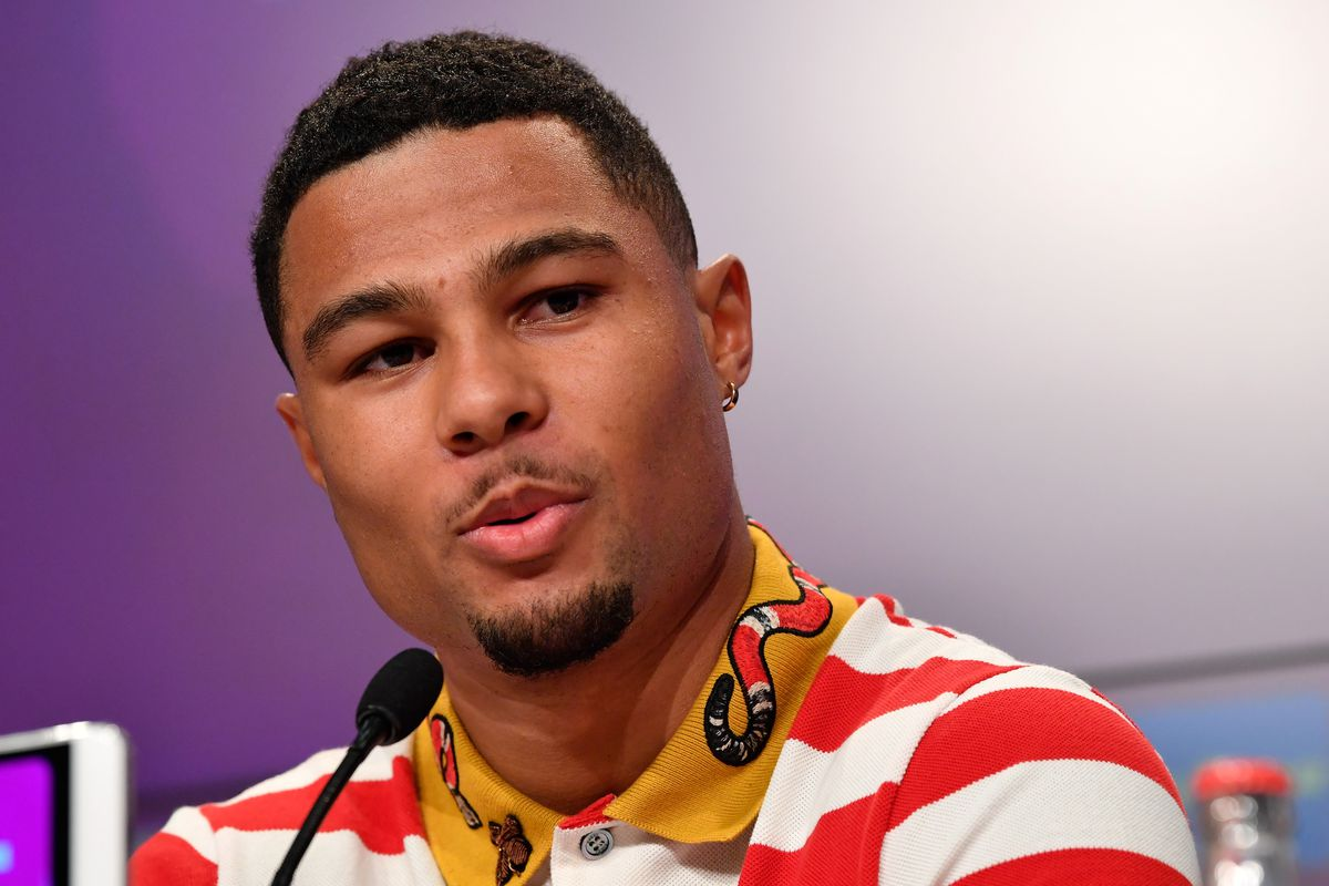MUNICH, GERMANY - JULY 02: FC Bayern Muenchen's new player Serge Gnabry talks to the media during FC Bayern Muenchen's season opening press conference at Allianz Arena on July 2, 2018 in Munich, Germany.