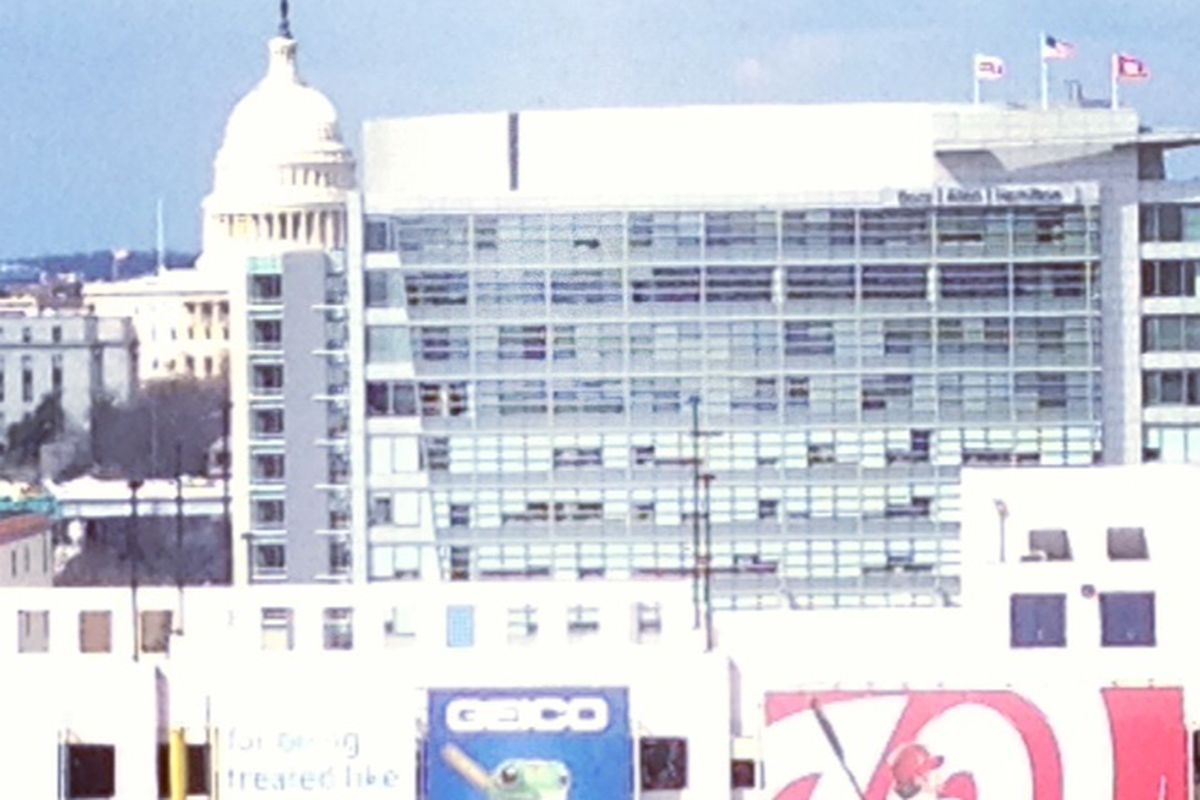 The view toward the Capitol Dome from Nats Park on Opening Day in D.C.