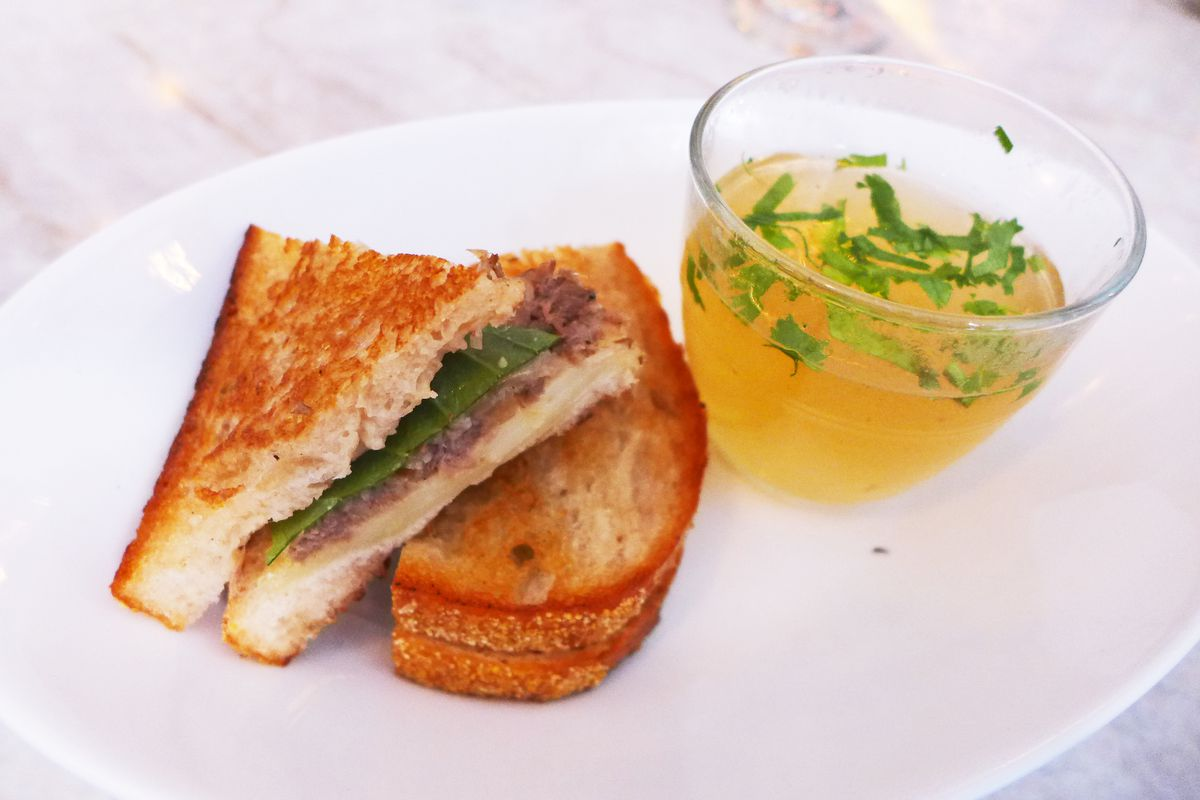 The short rib grilled cheese comes with soup.