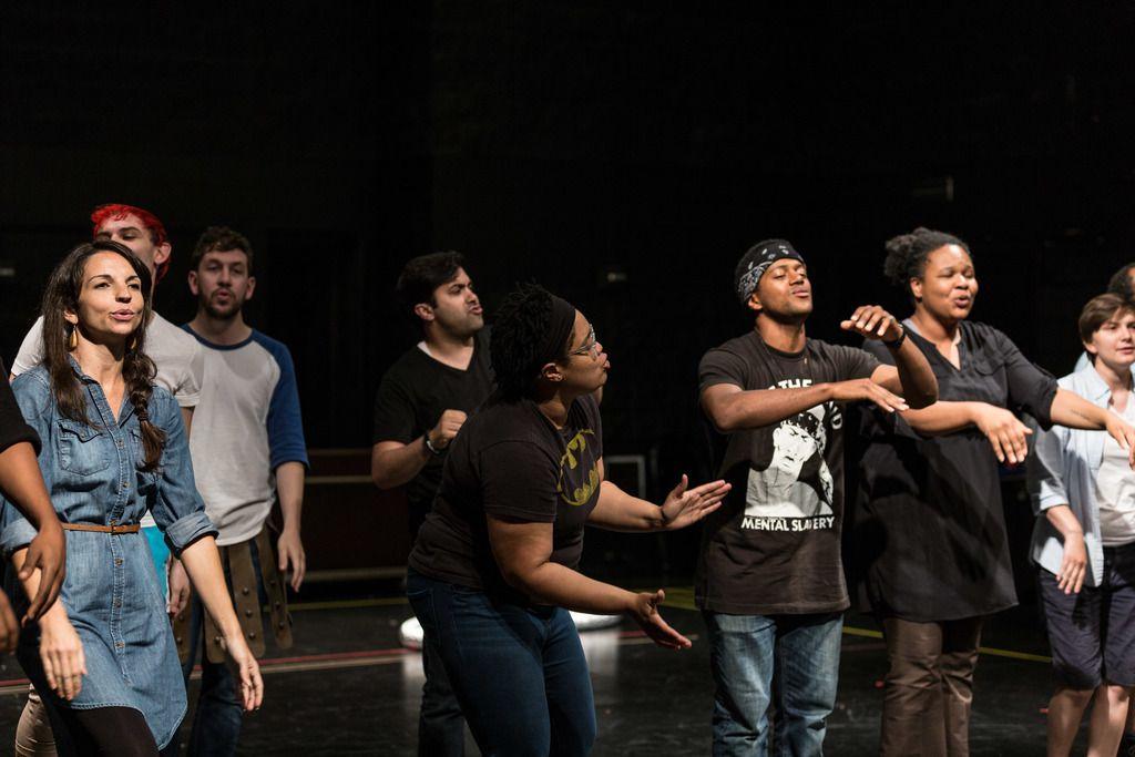 """Richard Costes (fourth from left, back) and the cast of Chicago Shakespeare Theater's """"A Midsummer Night's Dream"""" rehearse for Shakespeare in the Parks.   Erin Brown/Sun-Times"""