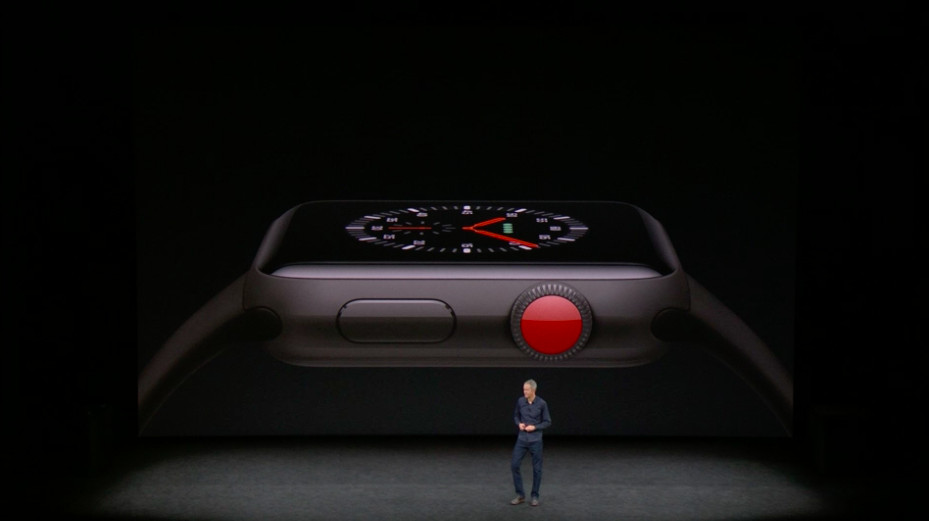 A picture of Apple's new Series 3 Apple Watch in gray with a red stem