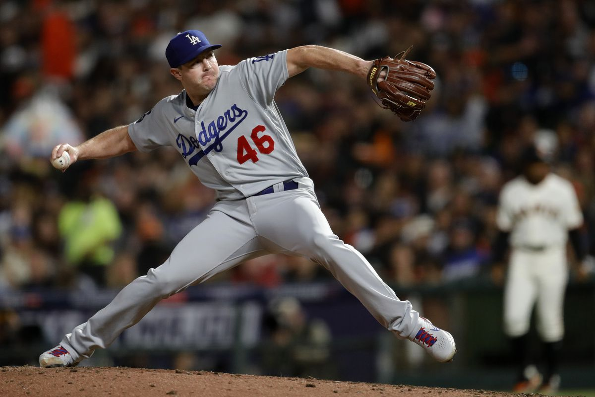 Los Angeles Dodgers relief pitcher Corey Knebel #46 throws against the San Francisco Giants in the seventh inning of Game 2 of the National League Division Series at Oracle Park in San Francisco, Calif., on Saturday, Oct. 9, 2021.
