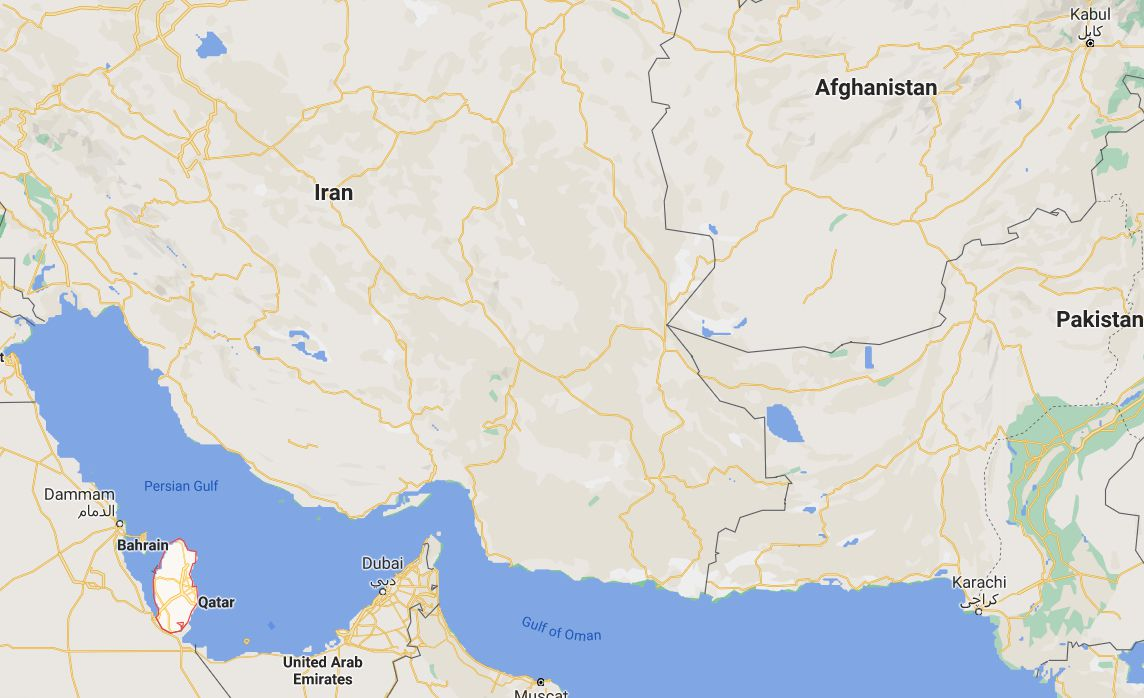 This map shows the distance between Afghanistan and Qatar.