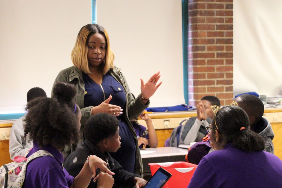 Yomyko Clark, in her first year of teaching at Aspire Hanley Middle School, says she has taught several game-based math lessons throughout the year.