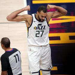 Utah Jazz center Rudy Gobert (27) flexes after being fouled by LA Clippers forward Nicolas Batum (33) as the Utah Jazz and LA Clippers play in an NBA basketball game at Vivint Smart Home Arena in Salt Lake City on Friday, Jan. 1, 2021. Utah won 106-100.