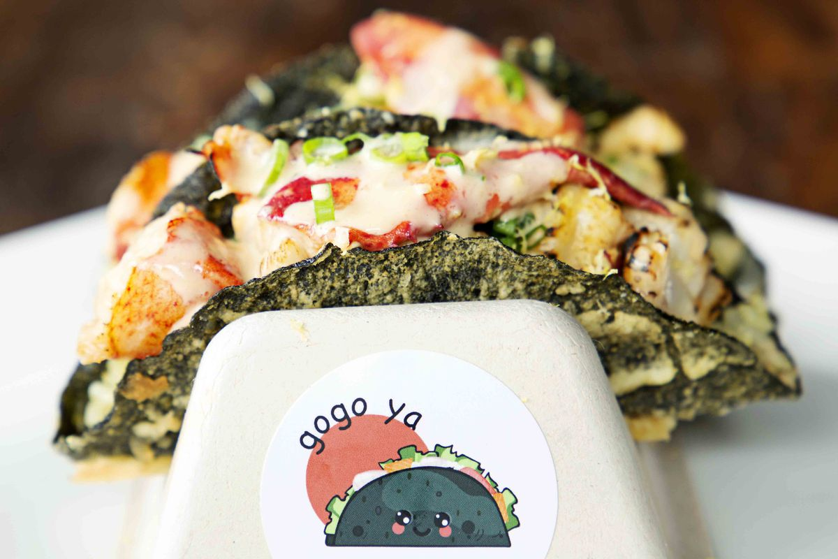 Grilled Maine lobster tacos at Gogo Ya at Time Out Market Boston