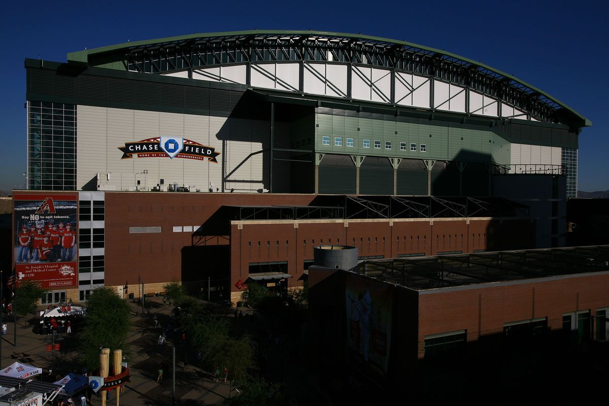 General view of Chase Field at sun set