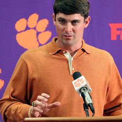 Clemson recruiting coordinator Jeff Scott answers a question during an NCAA college football signing day news conference on Wednesday, Feb. 1, 2012, in Clemson, S.C.
