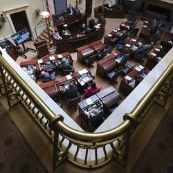 Senate President Stuart Adams, R-Layton, center top, leads a special session of the Legislature in the Senate chambers to deal with myriad COVID-19 budget changes at the Capitol in Salt Lake City on Thursday, June 18, 2020.