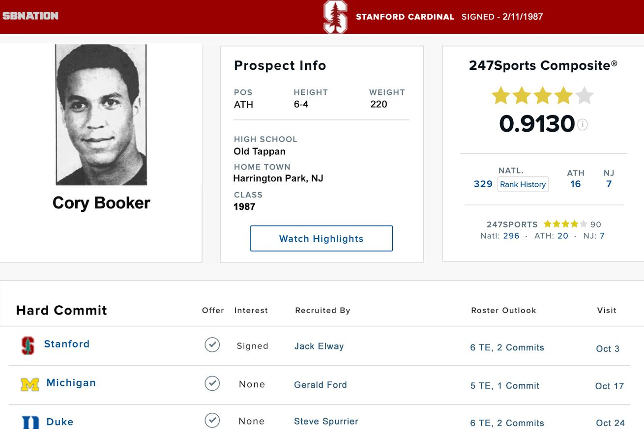 bookerfinal.0 - Cory Booker: an elite CFB recruit who didn't quite pan out
