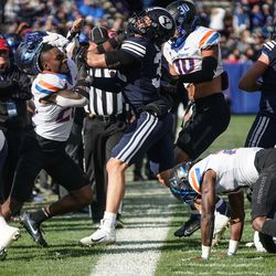 BYU and Boise State compete during an NCAA college football game at LaVell Edwards Stadium in Provo on Saturday, Oct. 9, 2021.