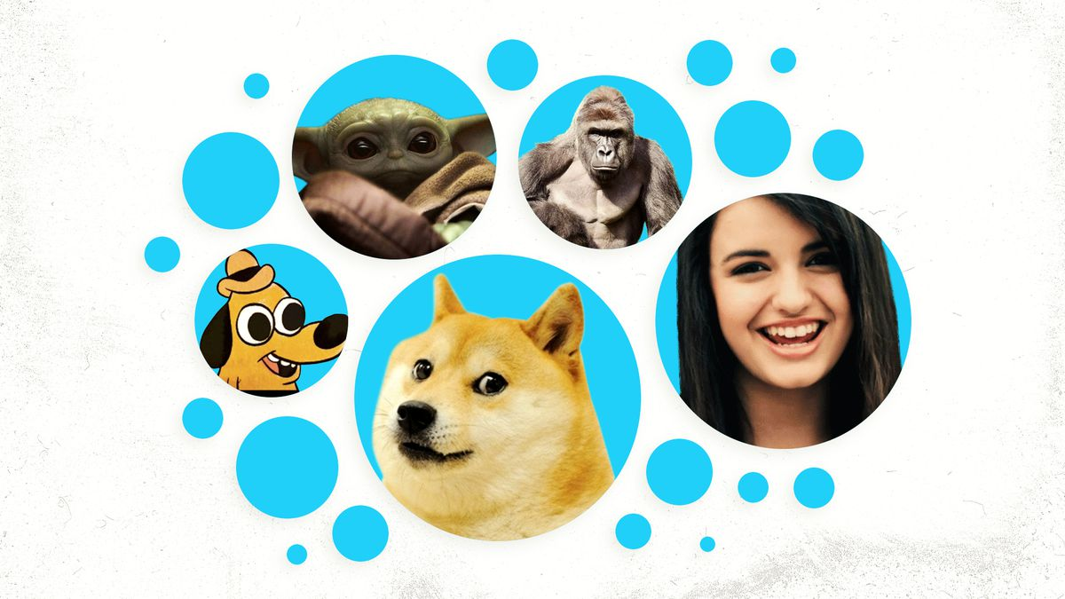 Collage of memes including doge and Rebecca Black