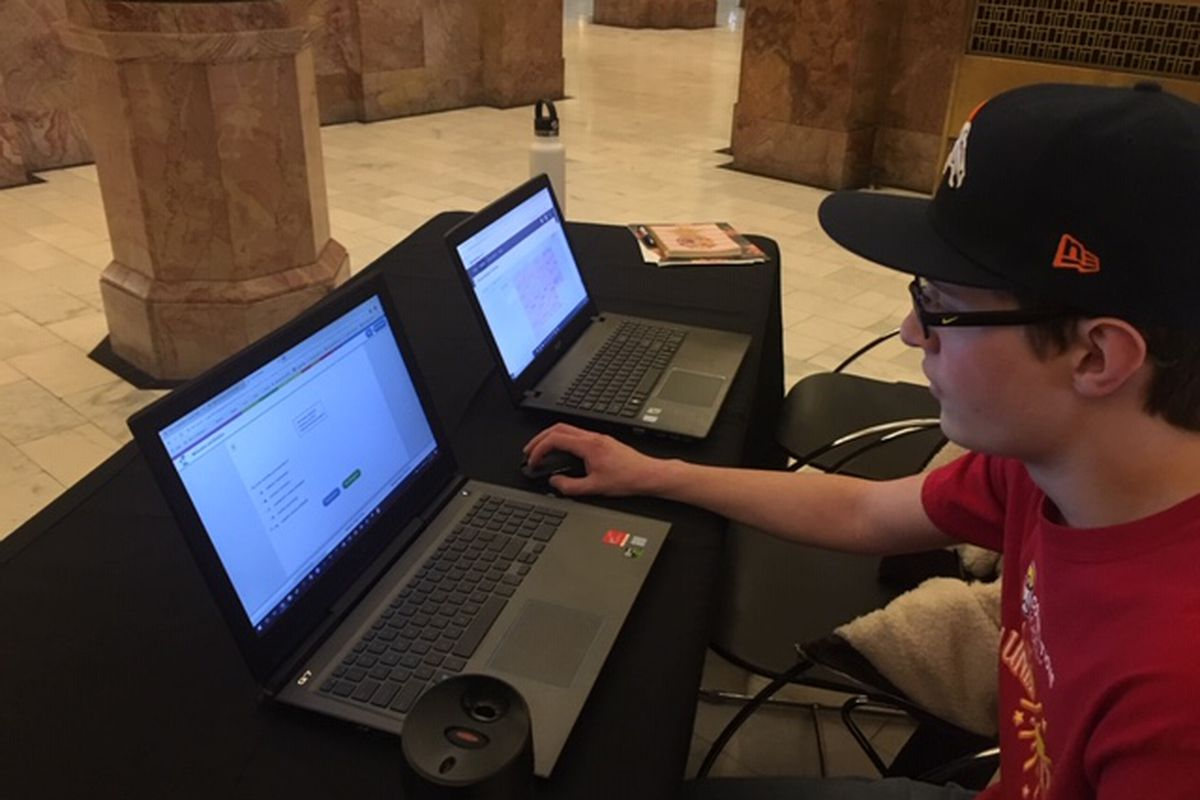 Tyler Landsparger, 17, took his online learning to the Colorado State Capitol recently as part of Cyberschool Day.