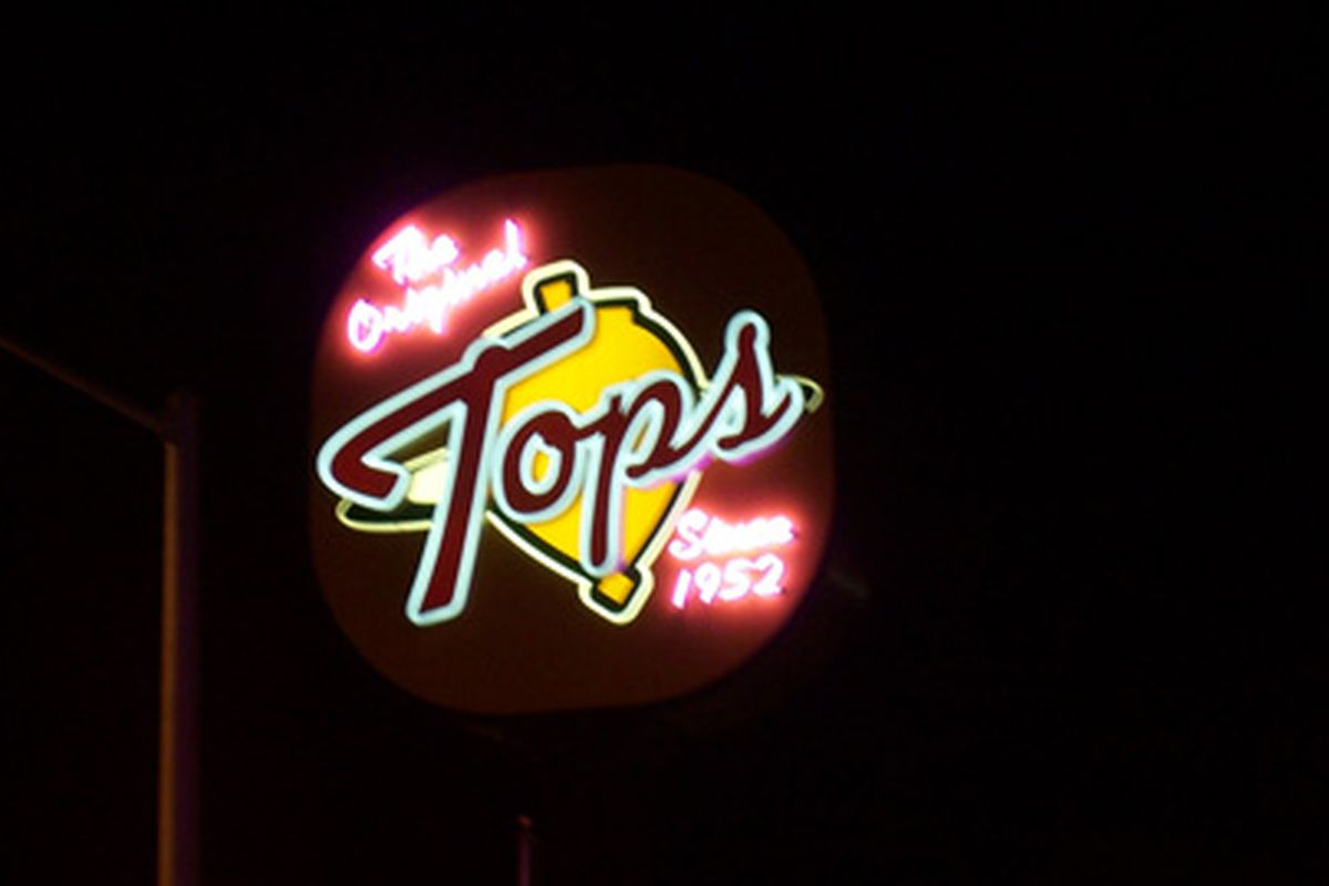 Late night signage at the Original Tops