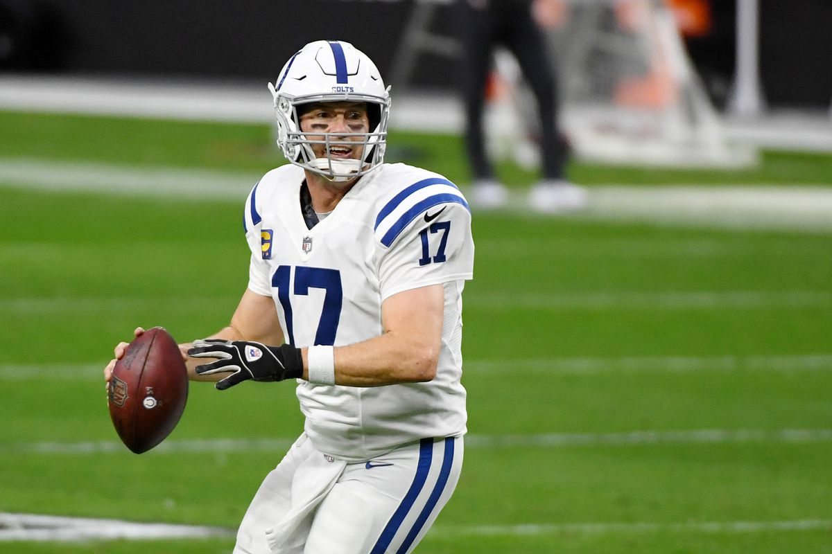 Quarterback Philip Rivers #17 of the Indianapolis Colts throws against the Las Vegas Raiders in the first half of their game at Allegiant Stadium on December 13, 2020 in Las Vegas, Nevada.