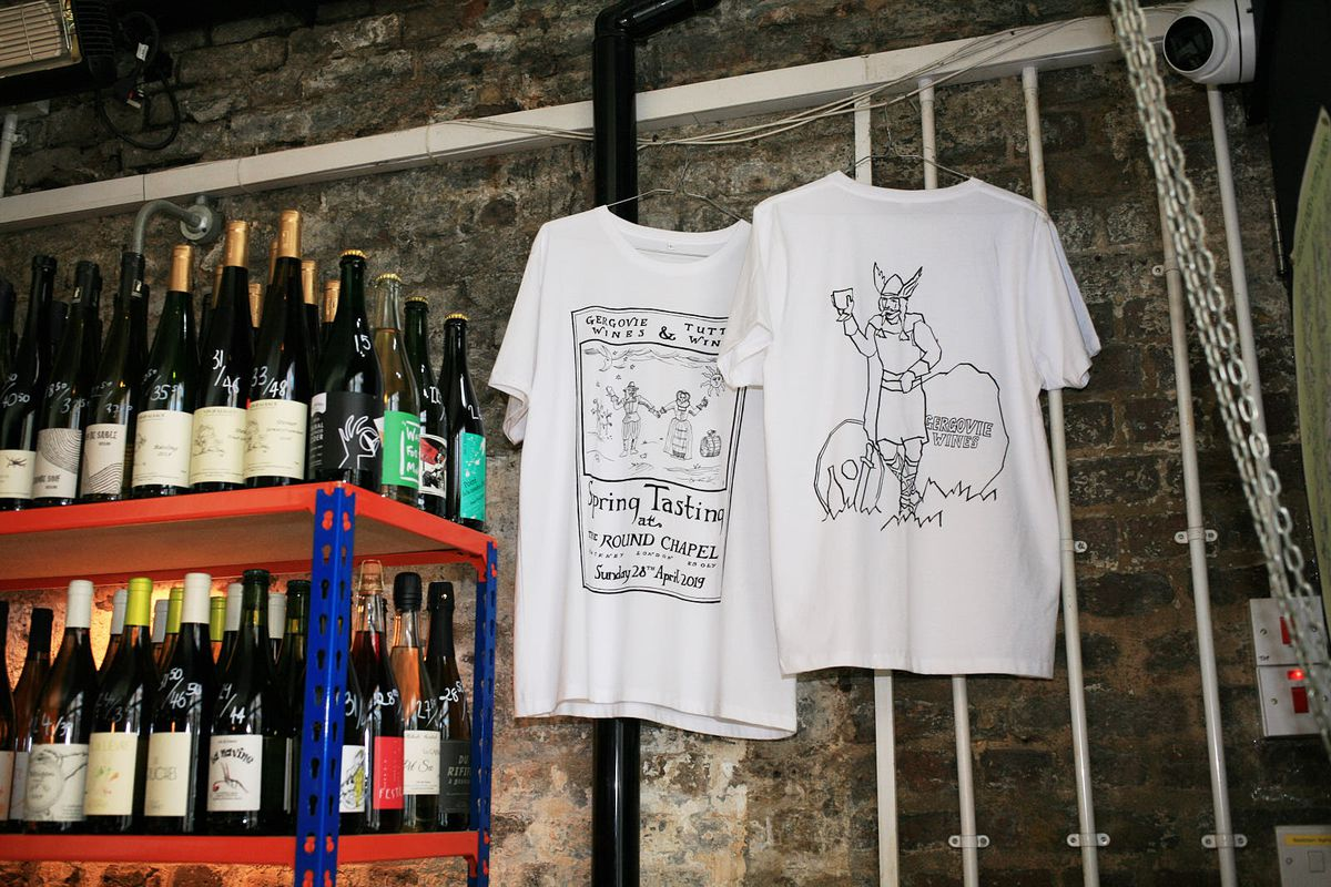 Wine and merch available at 40 Maltby Street, one of the city's best wine bars