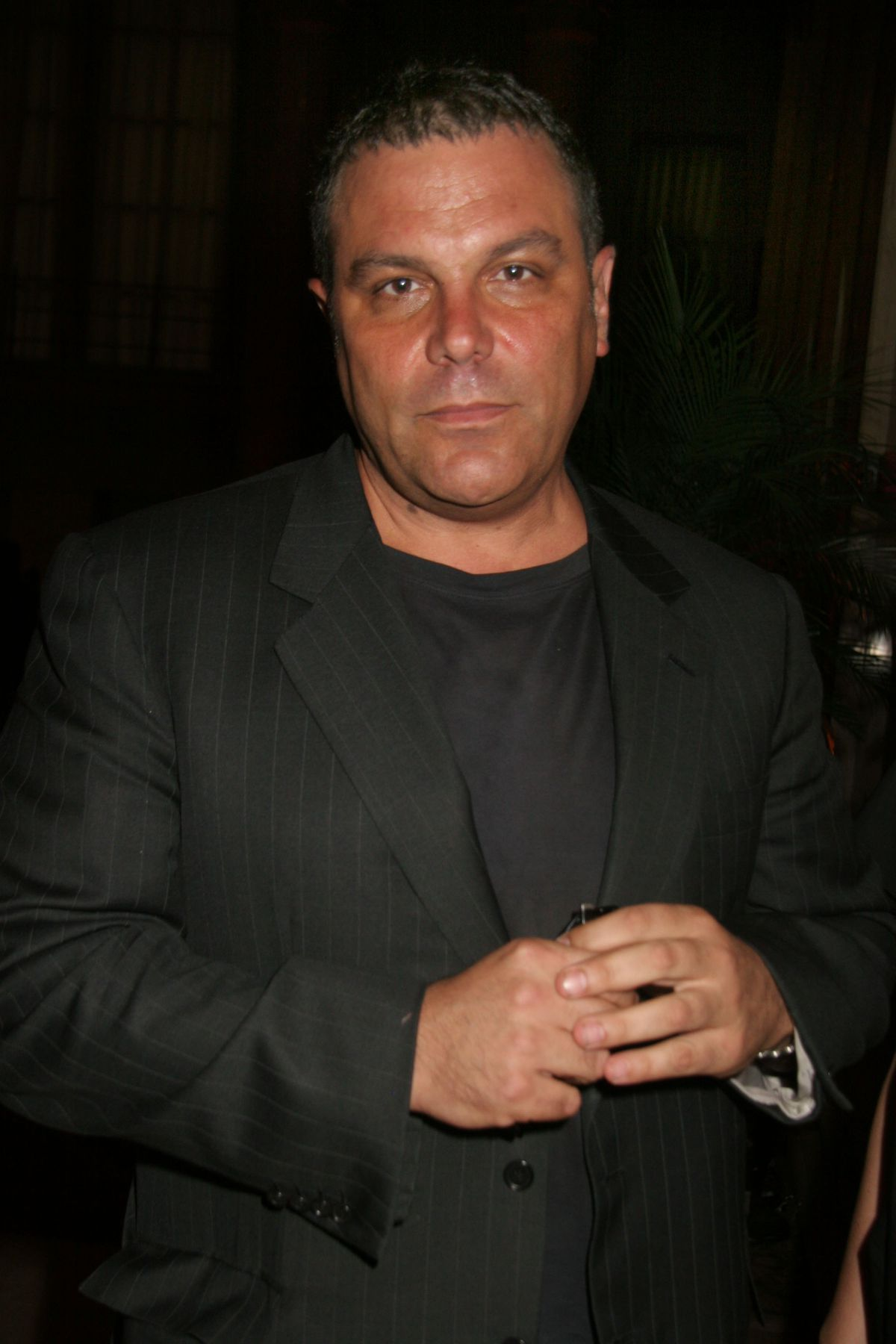 Restaurateur Stephen Starr in 2006, wearing a black suited suit and a black t-shirt