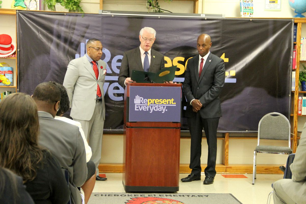 From left: Cherokee Elementary School principal Rodney Rowan, Shelby County Mayor Mark Luttrell and Superintendent Dorsey Hopson speak Wednesday at a press conference in Memphis about initiatives designed to increase student attendance in Shelby County Schools.