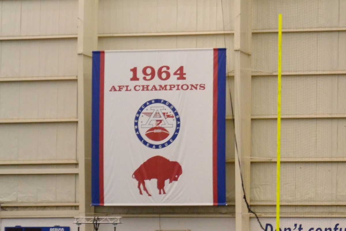 1964 AFL Championship banner hanging in the Buffalo Bills practice facility