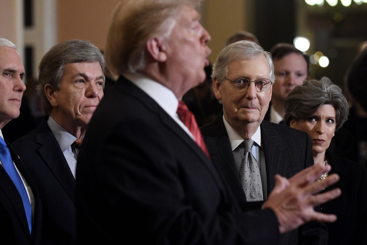 President Trump Attends Senate Republicans Weekly Policy Luncheons On Capitol Hill