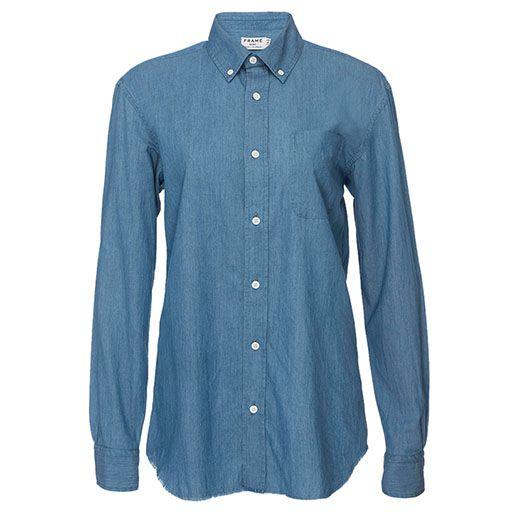 Frame denim raw edge button-down shirt