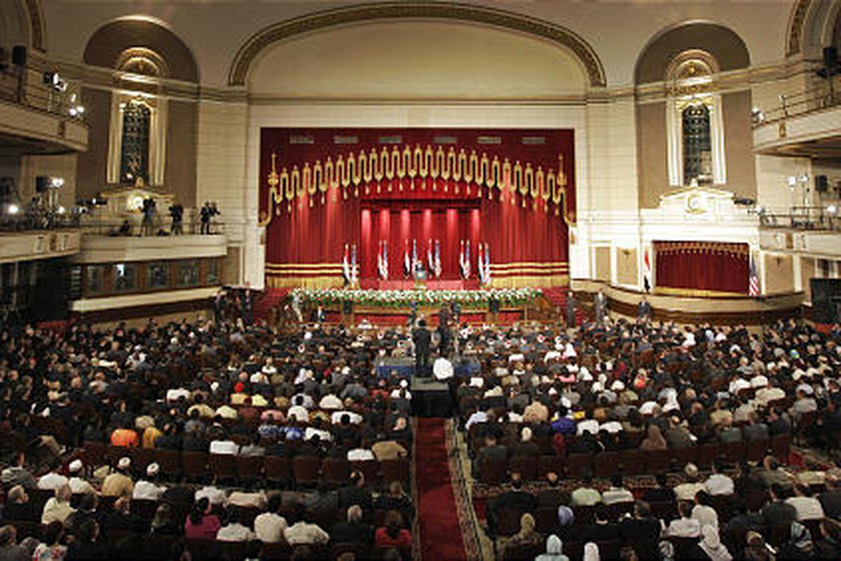 President Barack Obama speaks at Cairo University in Cairo, Egypt, on June 4.