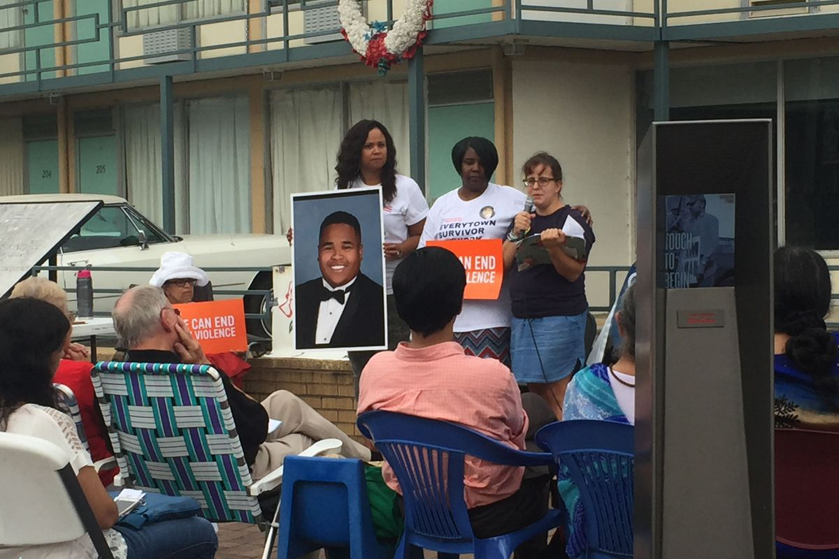 Kat McRitchie, at right, appeared with mothers who lost children to gun violence at a rally outside the National Civil Rights Museum. Photo courtesy Kat McRitchie.