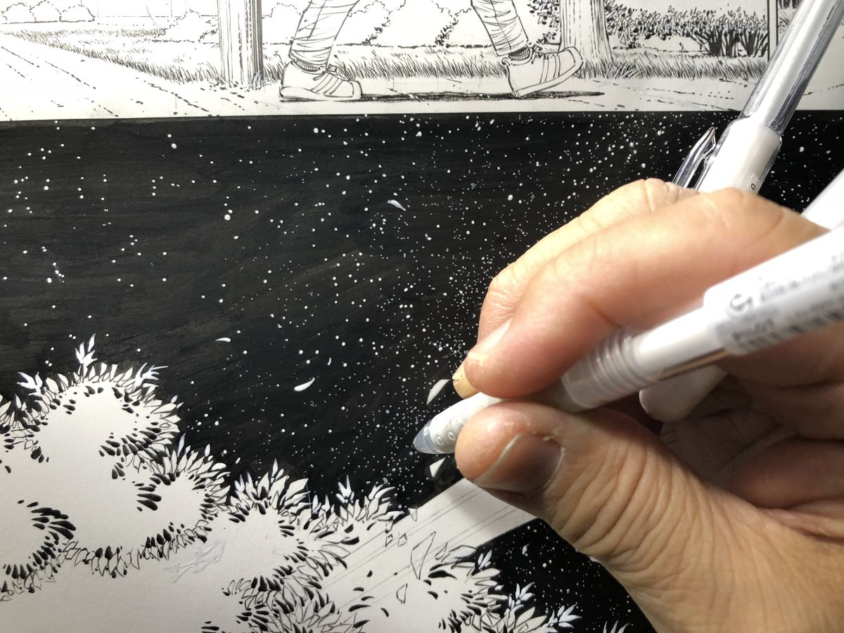 Artist Danny Miki inking stars onto a page of Superman: Year One #1, DC Comics (2019).