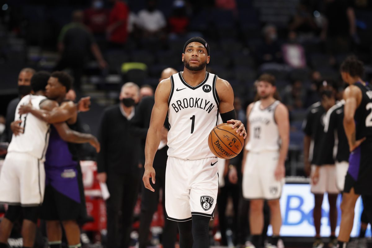 Bruce Brown #1 of the Brooklyn Nets looks on after the game against the Toronto Raptors on April 21, 2021 at Amalie Arena in Tampa, Florida.
