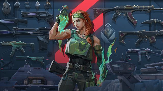 Skye from Valorant standing in front of several guns from the game